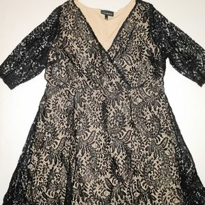 Lane Bryant Black Nude Lace Flare Party Dress 20